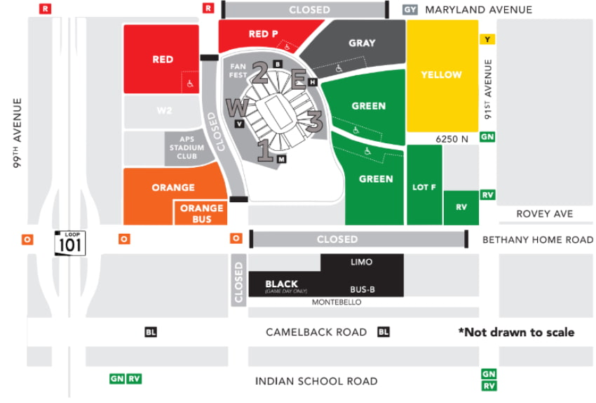 parking map for the fiesta bowl at state farm stadium