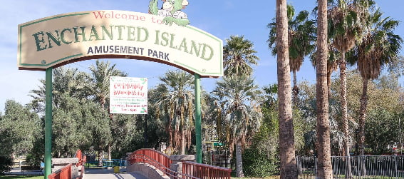 entrance to Enchanted Island Amusement Park