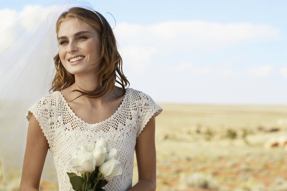 bride with the arizona desert in the background