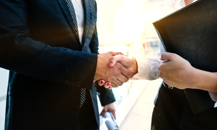 two business people shake hands